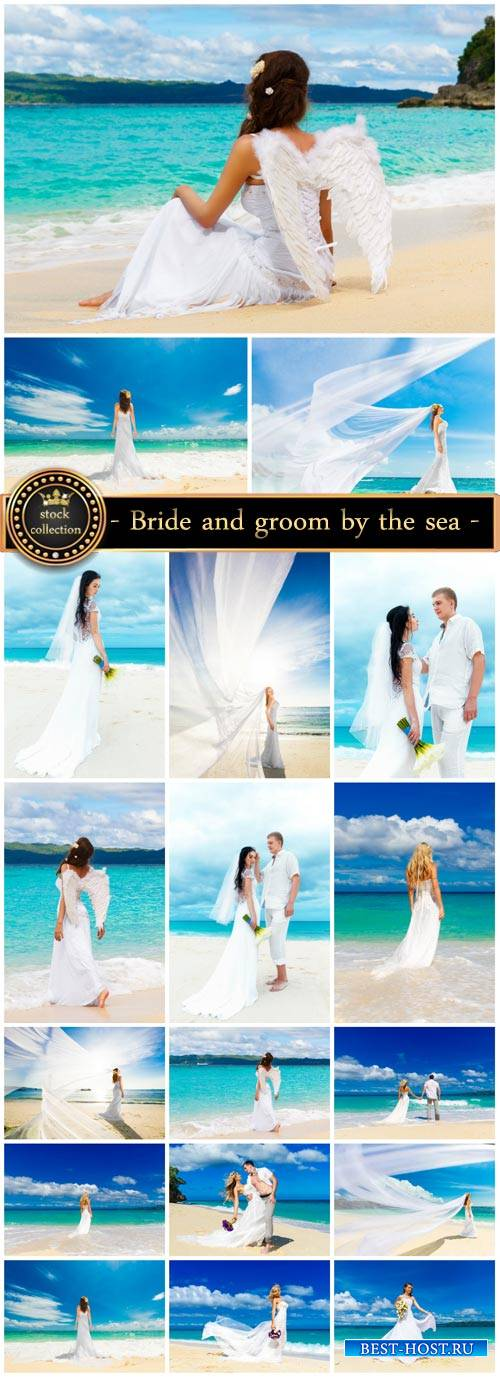 Bride and groom by the sea, wedding - stock photos