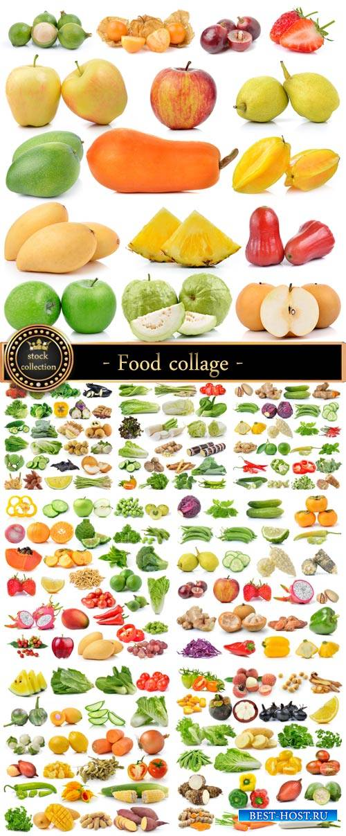 Food collage of vegetables, fruits, berries - stock photos