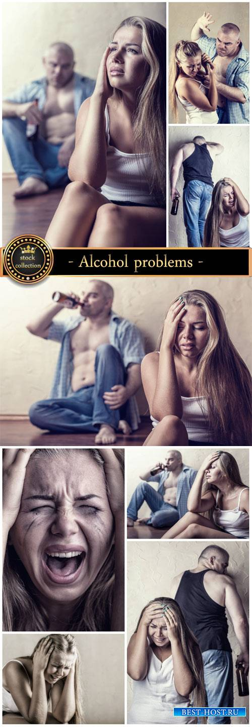 Alcohol problems in the family - stock photos