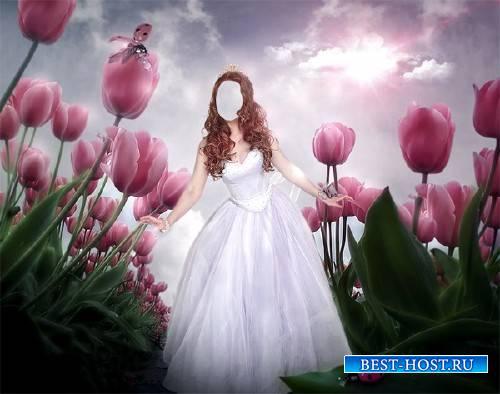 Шаблон для фотошопа - Принцесса среди тюльпанов