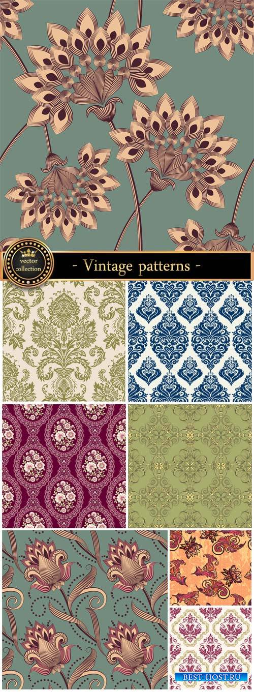 Vintage patterns, flowers, vector backgrounds