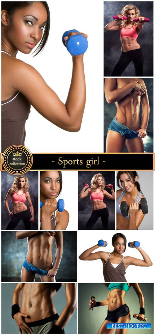 Sports girl, beautiful female body - Stock Photo