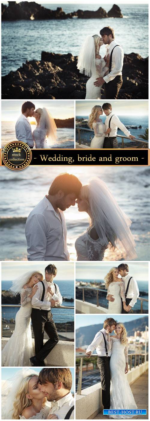 Wedding, bride and groom on the beach - stock photos
