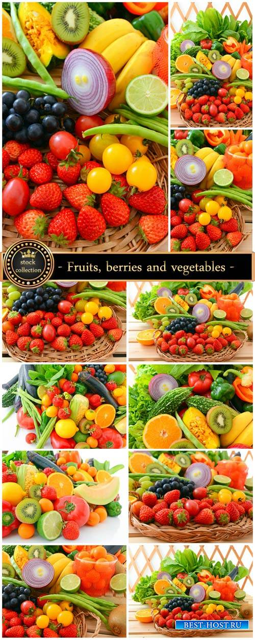 Fresh fruits, berries and vegetables - stock photos