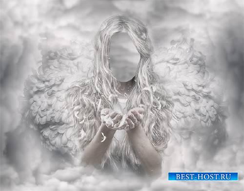 Шаблон psd женский - Белый ангел среди облаков