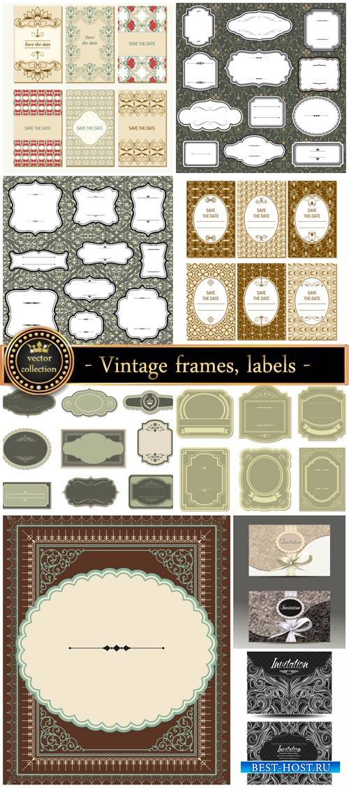 Vintage , labels, and invitations vector