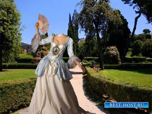 Шаблон для фото - Барышня в пышном платье