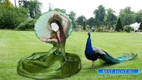 Шаблон psd - В парке в зеленом платье и зонтом