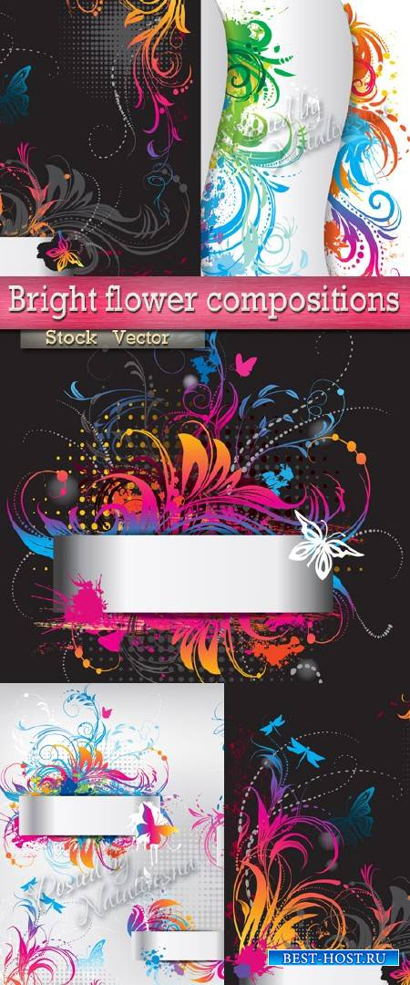 Яркие цветочные композиции в Векторе для дизайна