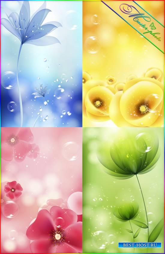 Набор многослойных PSD исходников для фотошопа - Colour_Flowers