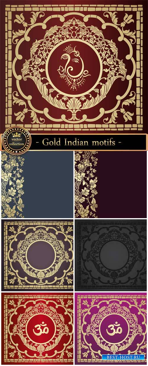 Gold Indian motifs, vector backgrounds