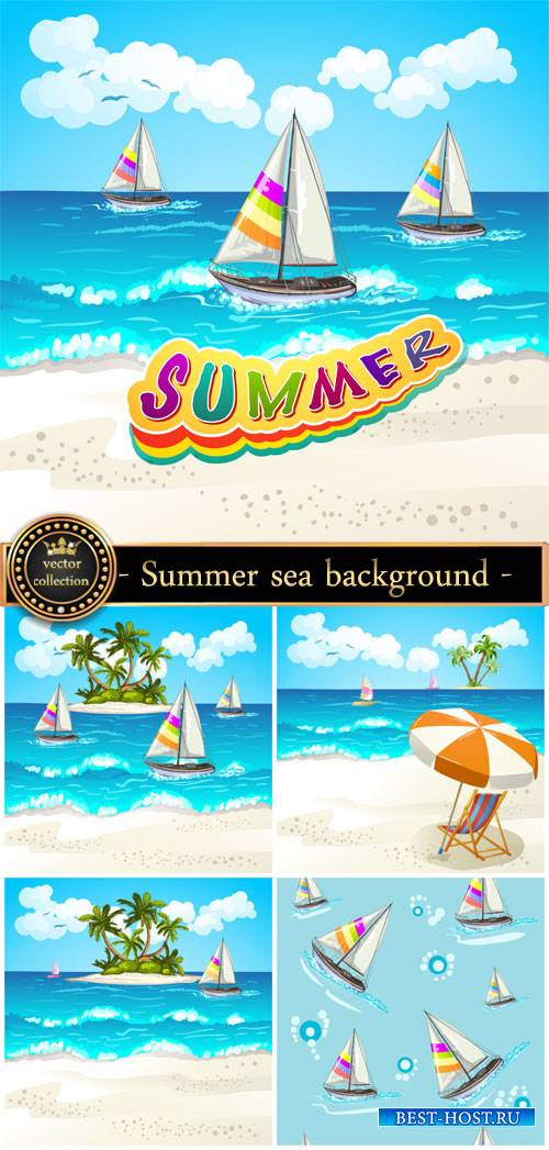 Summer sea background, sailboat, palm trees vector