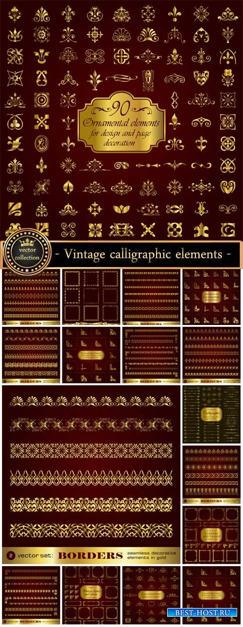 Vintage borders, and calligraphic elements vector