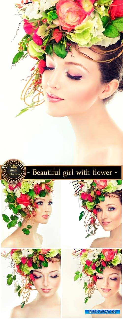 Beautiful girl with floral wreath on her head - stock photos