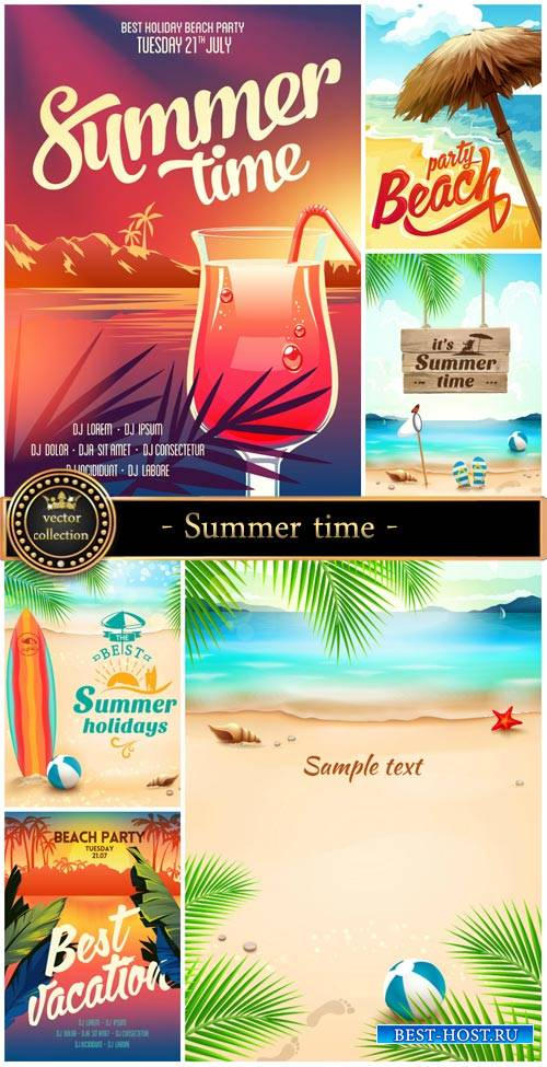 Summer time, vector sea background