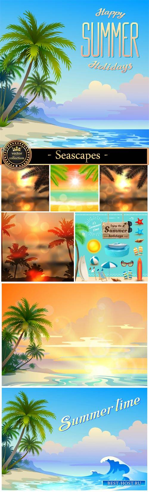 Seascapes, vector backgrounds with palm trees