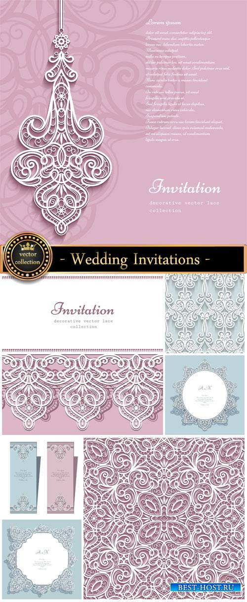 Wedding Invitations in the vector backgrounds with patterns