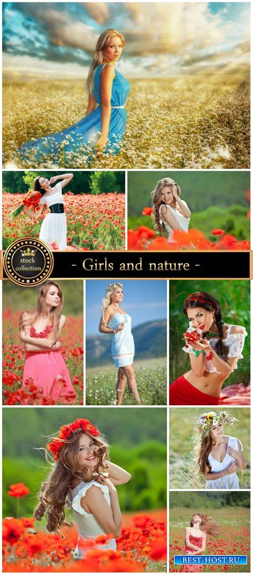 Girls and nature, flower fields - Stock photo