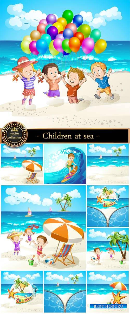 Children at sea, summer vacation, vector