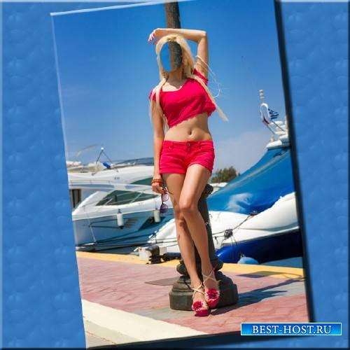 Шаблон для фотошопа - Причал с яхтами