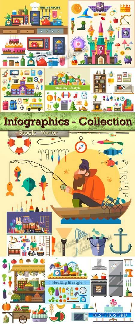Коллекция инфографики на разные темы в Векторе – Продукты, школа, рыбалка,  ...