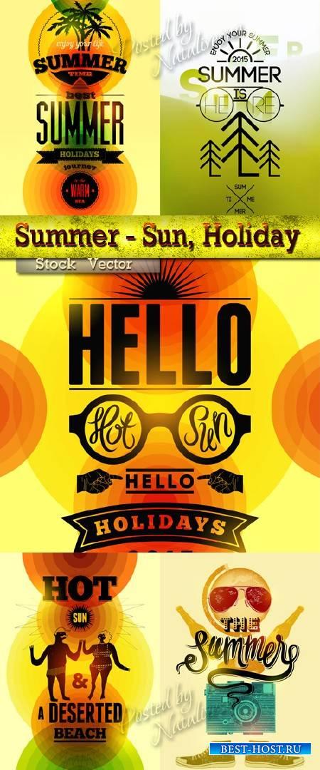 Типографский дизайн в Векторе - Летние каникулы и  солнце