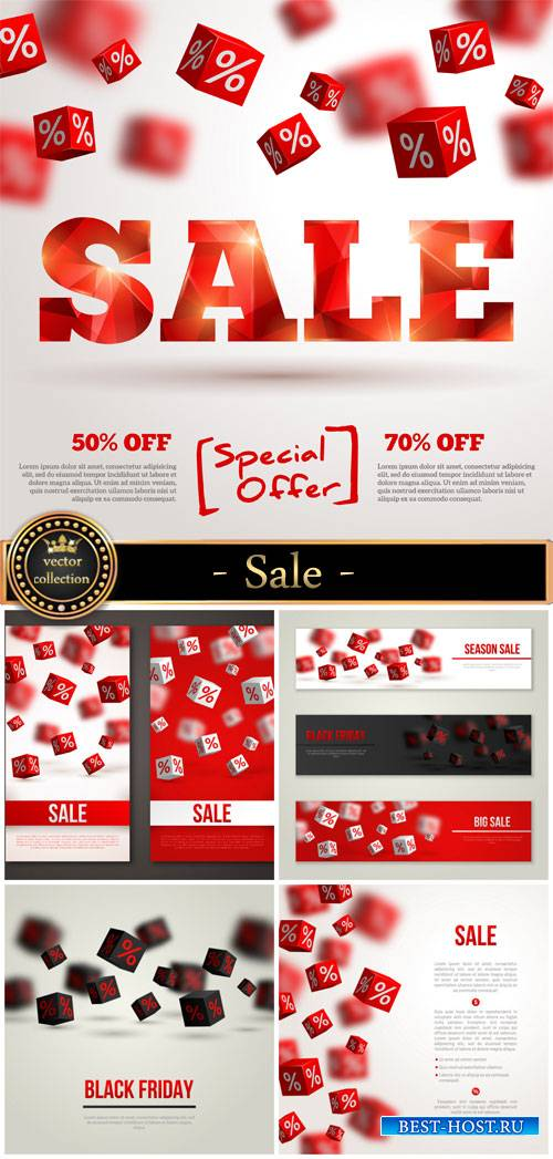 Sale, vector backgrounds and banners