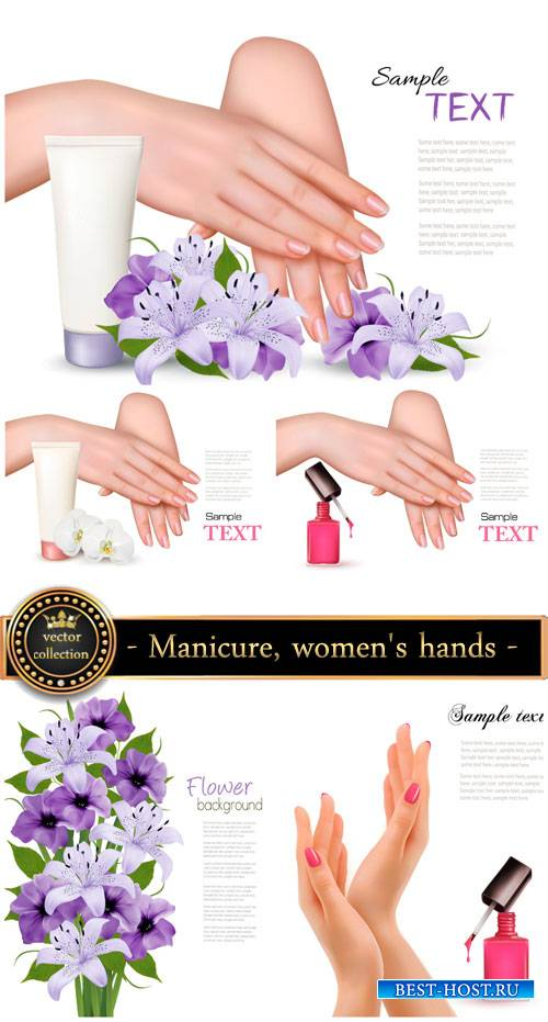 Manicure, women's hands and flowers vector