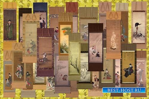 Клипарт Японская старинная живопись на свитках