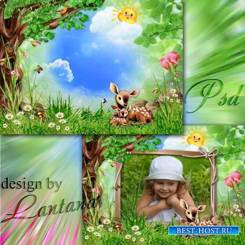 Psd исходник - Олененок молодой бархатные рожки