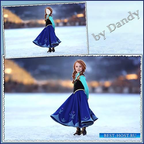 Шаблон для фотошопа - рыжая девочка в красивом платье