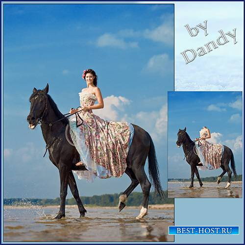 Шаблон для фотошопа - девушка верхом на коне