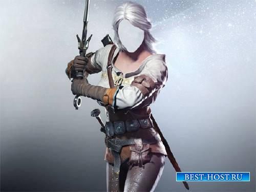 Шаблон для девушек - Девушка воин с мечом