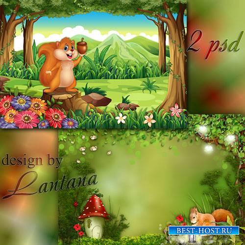 Многослойные фоны - Рыжий маленький зверёк прыгнул с ветки на пенёк