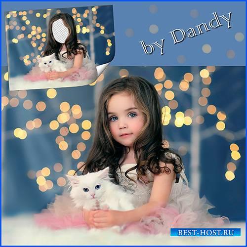 Шаблон для фотошопа - девочка с белым котиком