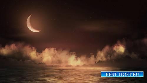 Футаж - Месяц над морем