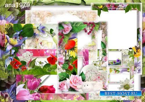 Набор рамок для фото в формате png - Когда вокруг цветы