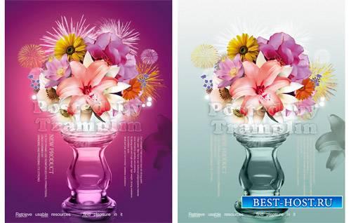 Цветы и вазы Psd материал