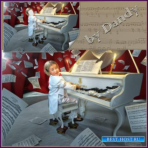 Шаблон для фотошопа - девочка пианист виртуоз