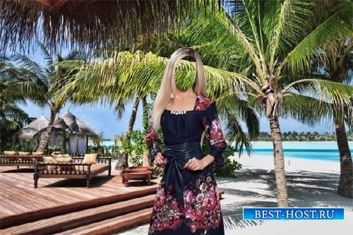Photoshop шаблон - В красивом платье на море