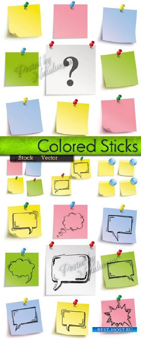 Цветные стикиры на кнопках с формами для речи