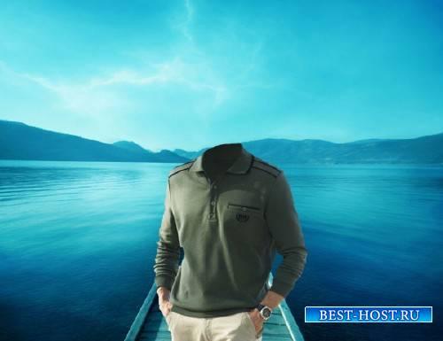 Шаблон psd мужской - Мужчина на озере