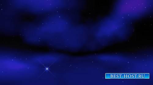 Футаж - Звёздное небо в облаках
