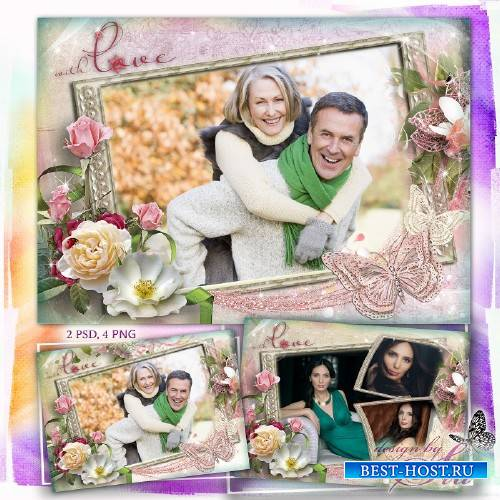 Цветочная рамка для фотошопа на 3 фото – С любовью