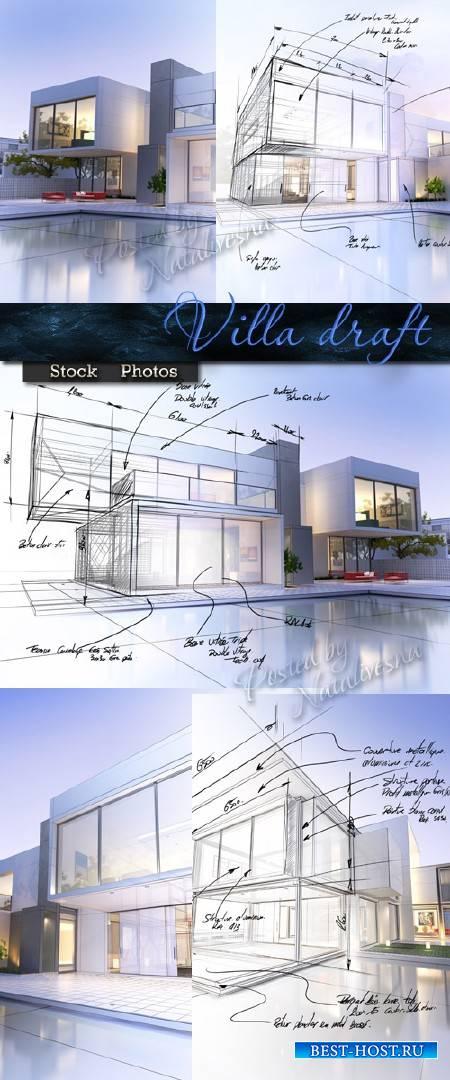 Проект Виллы и особняка в нежно голубом цвете – Stock photo