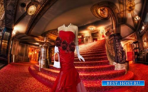 Шаблон для фотошопа - На лестнице в театре в красивом платье