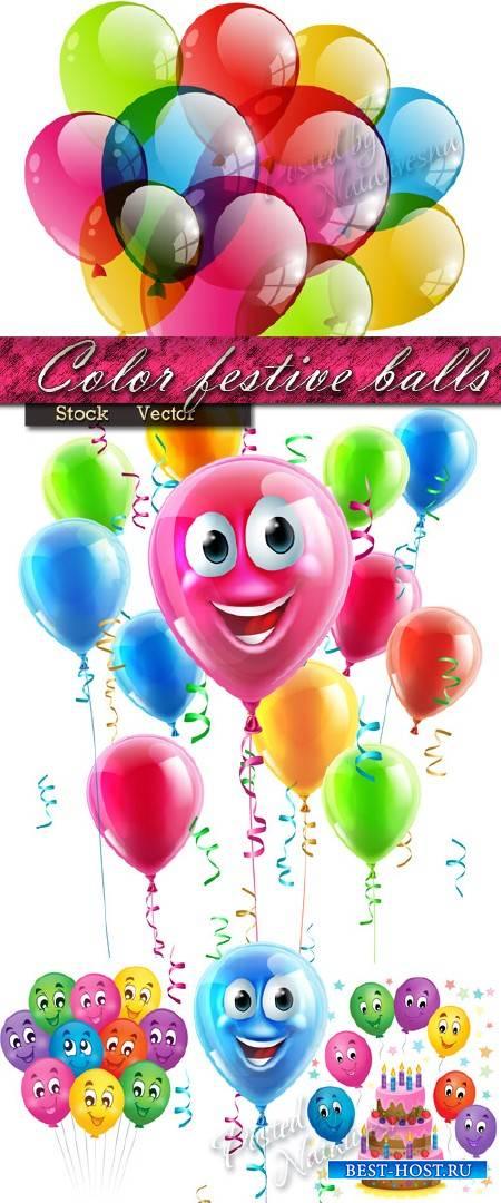 Цветные праздничные шарики в Векторе
