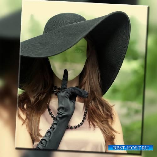 Photoshop шаблон - Дама в шляпе