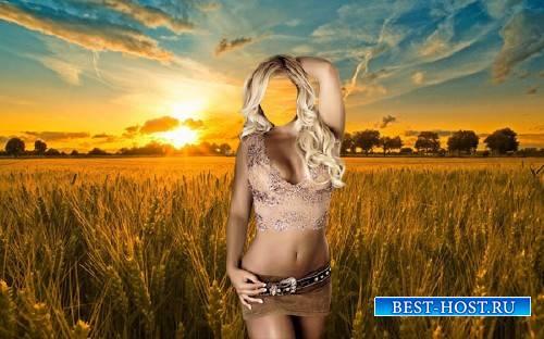 Шаблон psd - Шикарная девушка на пшеничном поле