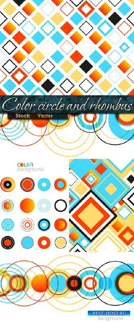 Цветной круг и ромб в Векторе - Абстактные фоны